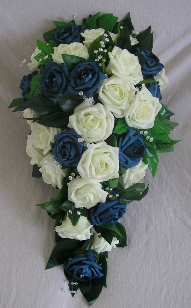 Artificial Flowers Ivory Navy Foam Rose Bride Teardrop Wedding Shower Bouquet